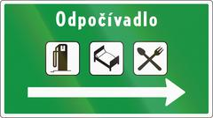 Road sign used in Slovakia - Odpocivadlo means rest area - stock illustration