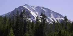 Mt. Lassen's snowy peak in Mt. Lassen Volcanic National Park, California Stock Footage