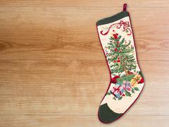 Christmas cross stitch stocking - stock photo