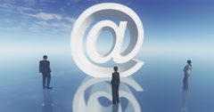 4k at sign email symbol,business man around the symbol,web tech. Stock Footage