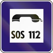 Road sign used in Slovakia - Emergency telephone - stock illustration