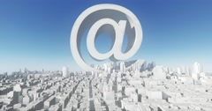 4k web email symbol & abstract urban,3D Virtual Geometric City Buildings. Stock Footage