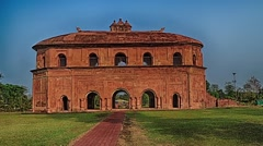 Slow zoom of Rang Ghar of Ahom Kings,Assam in India. Stock Footage
