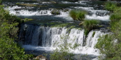 Water pooling at base of stair-stepped low waterfall Stock Footage