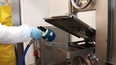Cleaning the detergent residues of meat. - stock footage