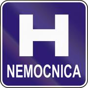 Road sign used in Slovakia - Nemocnica means Hospital - stock illustration