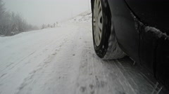 Drive on Snow Road Low angle view, 4k Stock Footage