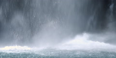 Water plunging into pool at base of waterfall - stock footage