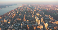 Aerial view Manhattan Upper West Side and Central Park at Sunset Stock Footage