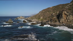 Stock Video Footage of Flying along the rocky Catalina coastline. Shot in 2010.