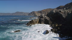Flying along the rugged Catalina coastline. Shot in 2010. Stock Footage