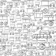 Seamless sketch vector pattern for street trade - stock illustration
