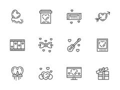 Valentines Day flat line vector icons set Stock Illustration