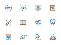Vector collection of love greeting flat icons - stock illustration
