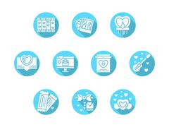 Valentines Day party blue round vector icons - stock illustration