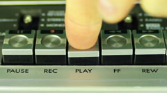 Pushing Button on a Tape Recorder, Play, Stop, Rec, ff, Rew, Pause Stock Footage