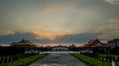4K sunset timelapse of Chiang Kai-shek Memorial Hall with great sun ray, Taipei - stock footage
