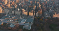 Manhattan Upper East Side Aerial at Sunset. Flying over Central Park Stock Footage