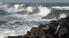 Large Storm Waves Crashing On South Jetty 2 Stock Footage