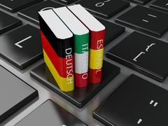 3d Dictionaries on computer keyboard. E-learning Stock Illustration