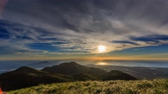 4K timelapse of Datun Mountain from sunset to twilight Stock Footage