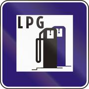 Road sign used in Slovakia - LPG supply - stock illustration