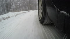 Pov Vehicle Road Drive Winter Snow on Ice road, low view sport car Stock Footage