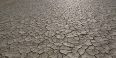 Slow right pan over cracked surface of dry alkali flat Stock Footage