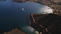 Over sun glare on a harbor on Santa Catalina. Shot in 2010. Stock Footage