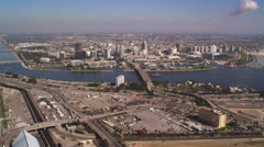 Looking back at Long Beach, California. Shot in 2010. Stock Footage