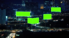 City Landscape With Roads And Greenscreen Billboards - stock footage