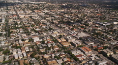 Flying over residential area in Long Beach, California. Shot in 2010. Stock Footage