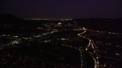 Approaching Universal City and downtown Los Angeles at night. Shot in 2010. Stock Footage