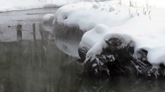 Winter unfrozen stream with steam and reflection, snow Stock Footage