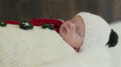 Face of an adorable sleeping newborn baby. Close-up Stock Footage