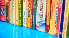 View of Colorful Children's Books on Bookshelf - stock footage