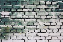 Brick old wall texture with gradient paint green white colors for background, Stock Photos