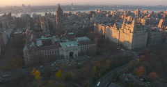 Natural History Museum and Upper West Side Helicopter Aerial Central Park Stock Footage