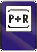 Road sign used in Slovakia - Park and ride - stock illustration