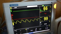 A fictional hospital computer screen monitoring a human heart Stock Footage