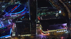 Night flyby of The Ritz-Carlton and The Staples Center in Los Angeles. Shot in Stock Footage