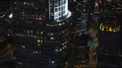 Flying past Los Angeles skyscrapers at night. Shot in 2010. Stock Footage