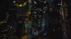 Flying above Los Angeles skyscrapers looking straight down at city streets. Shot Stock Footage