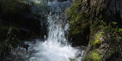 Close view of low waterfall rushing between mossy rocks into small pool Stock Footage