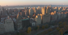 Aerial of the Upper West Side of Manhattan at sunset including The Eldorado Stock Footage