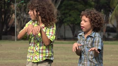 Brothers Acting Like Zombies Stock Footage