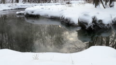 Winter Unfrozen Stream With Steam And Reflection Stock Footage