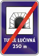 Road sign used in Slovakia - End Tunnel. Tunel means tunnel - stock illustration