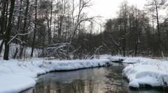 Winter unfrozen river, snow, trees Stock Footage