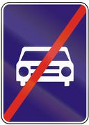 Stock Illustration of Road sign used in Slovakia - End of road reserved for motor vehicles